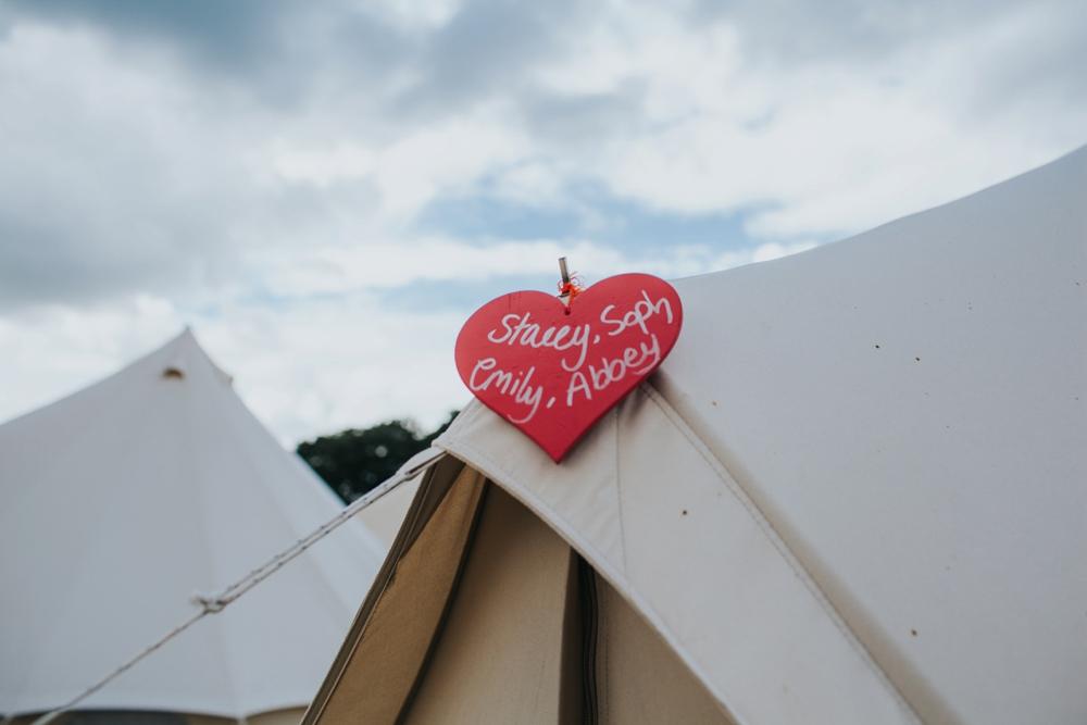 bell camping tents at DIY festial wedding