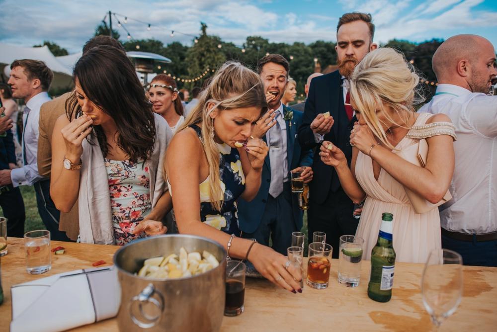 shots at DIY bar festival wedding