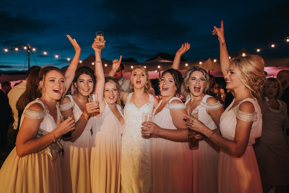 groups of bridesmaids at wedding