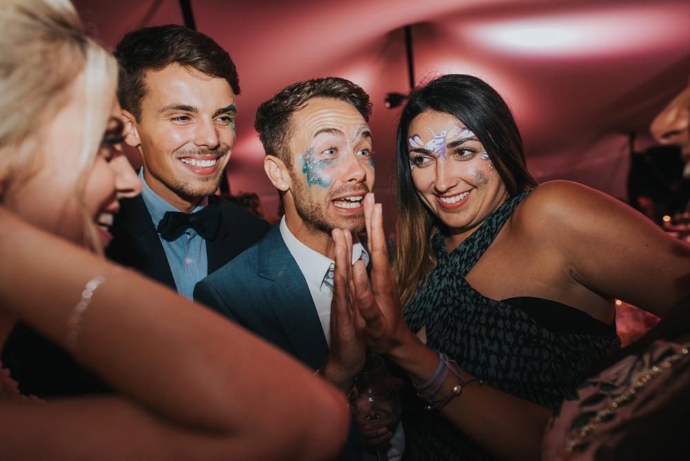 face painted guests at DIy WEDDING