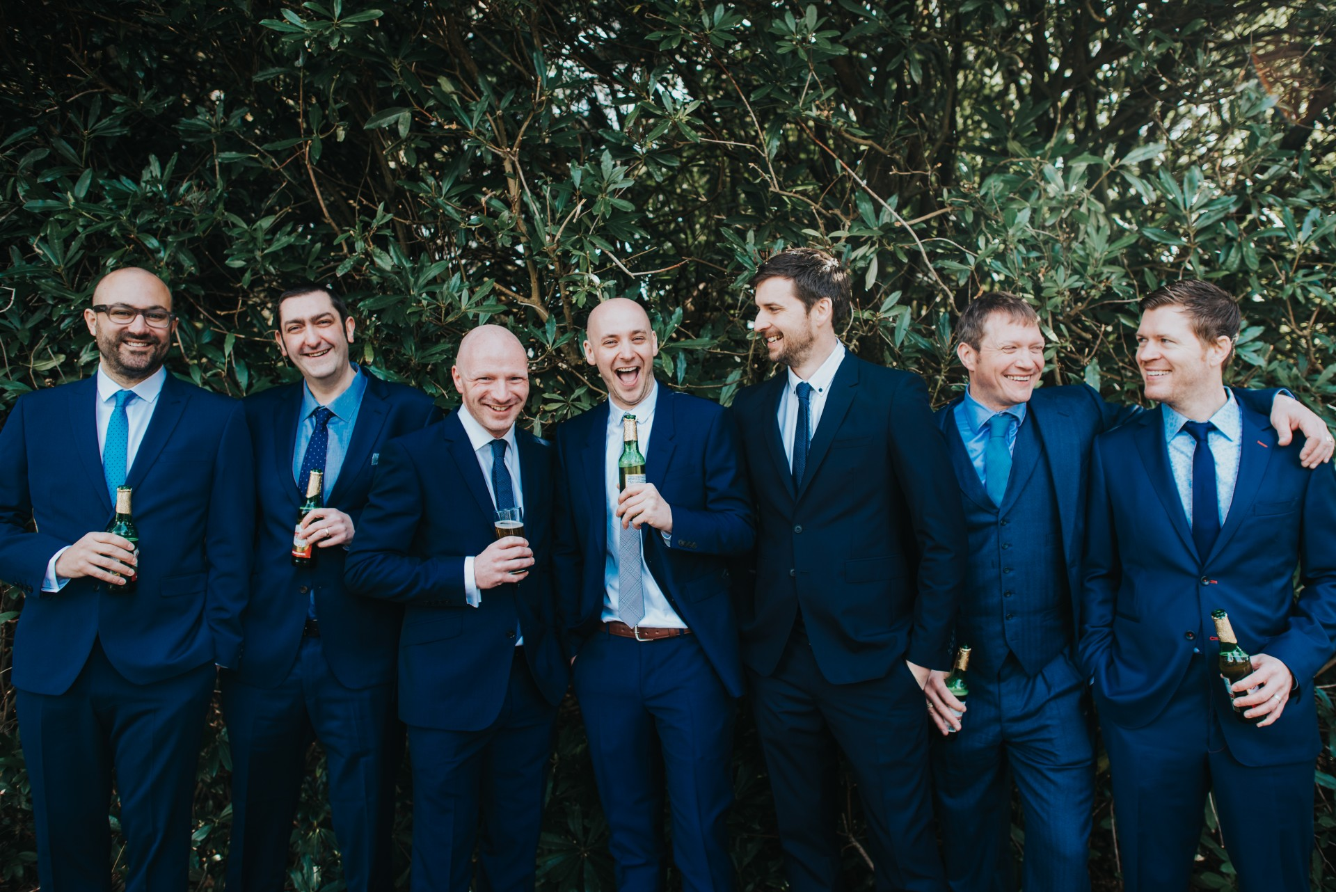 group of lads enjoying a beer before wedding