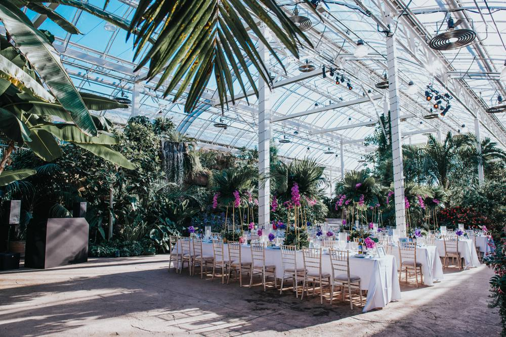 Botanical, tropical, orchid themed glasshouse wedding