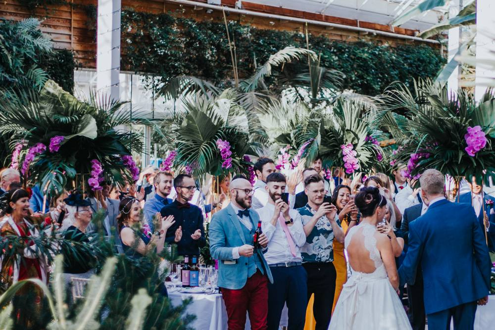 tropical themed wedding, RHS wisley glasshouse