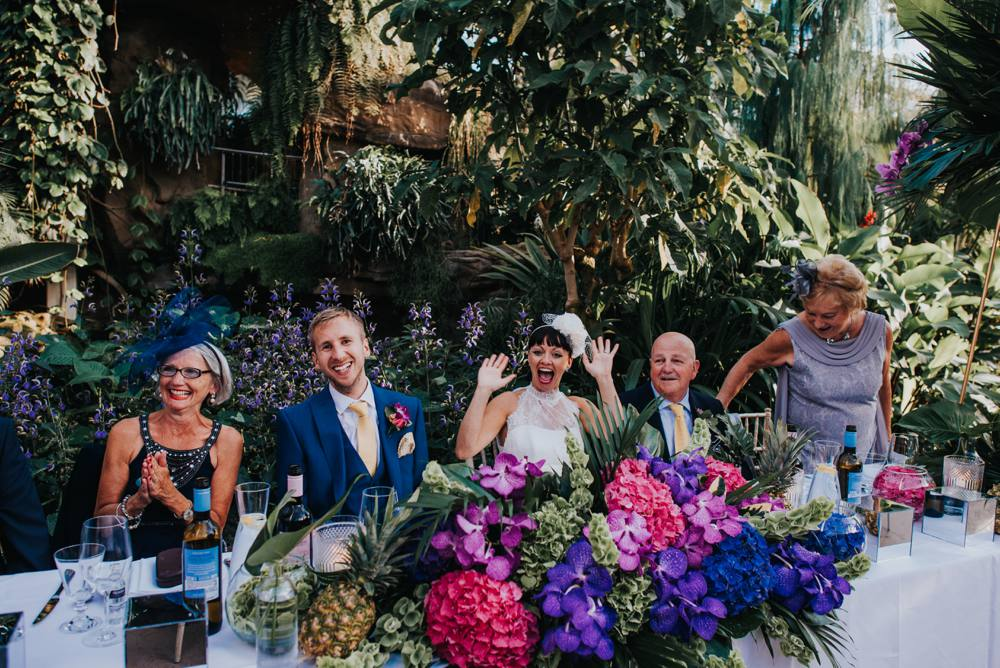 tropical themed botanical wedding reception, glass house