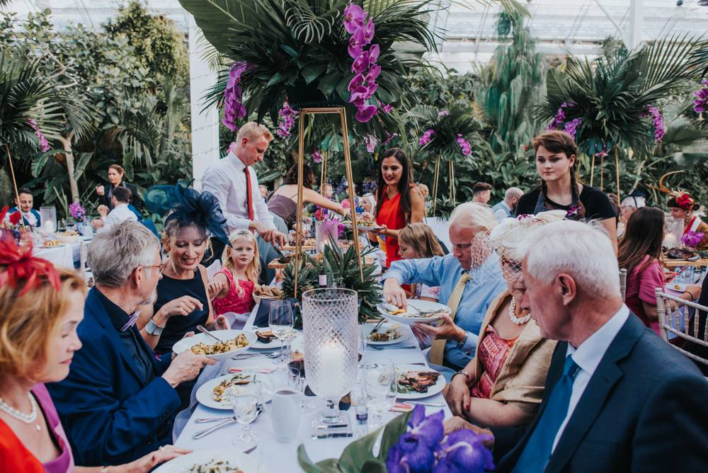 tropical orchid wedding reception