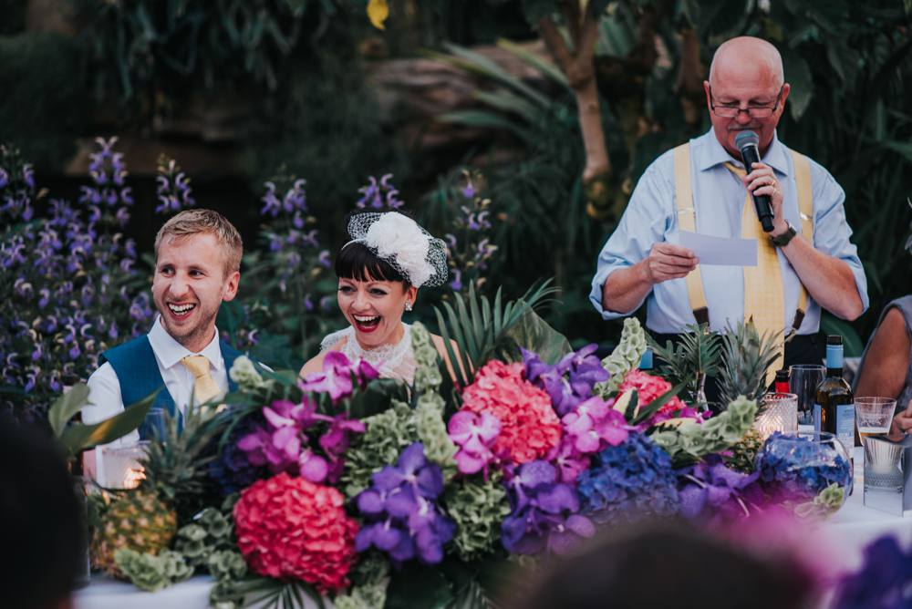 bride and grooms reaction in wedding speech