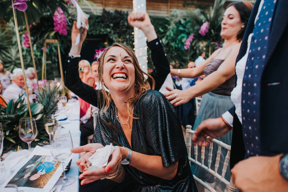 girl winning the sweepstakes at wedding