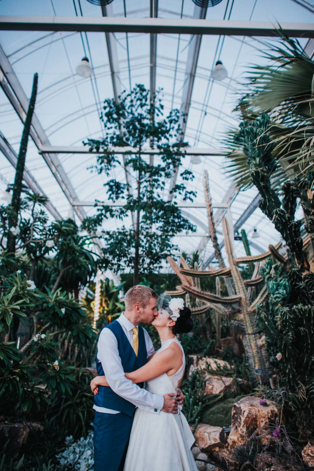bride and groom kissing my cactus in wisley glasshouse