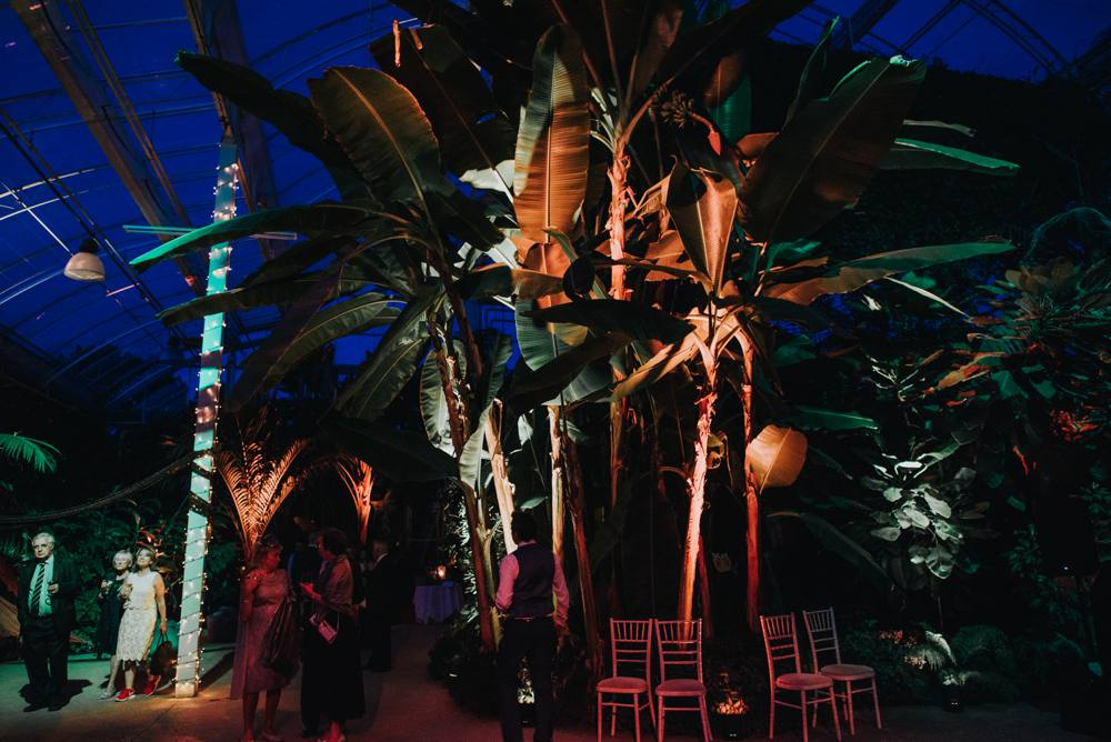 RHS Wisley glass house at night