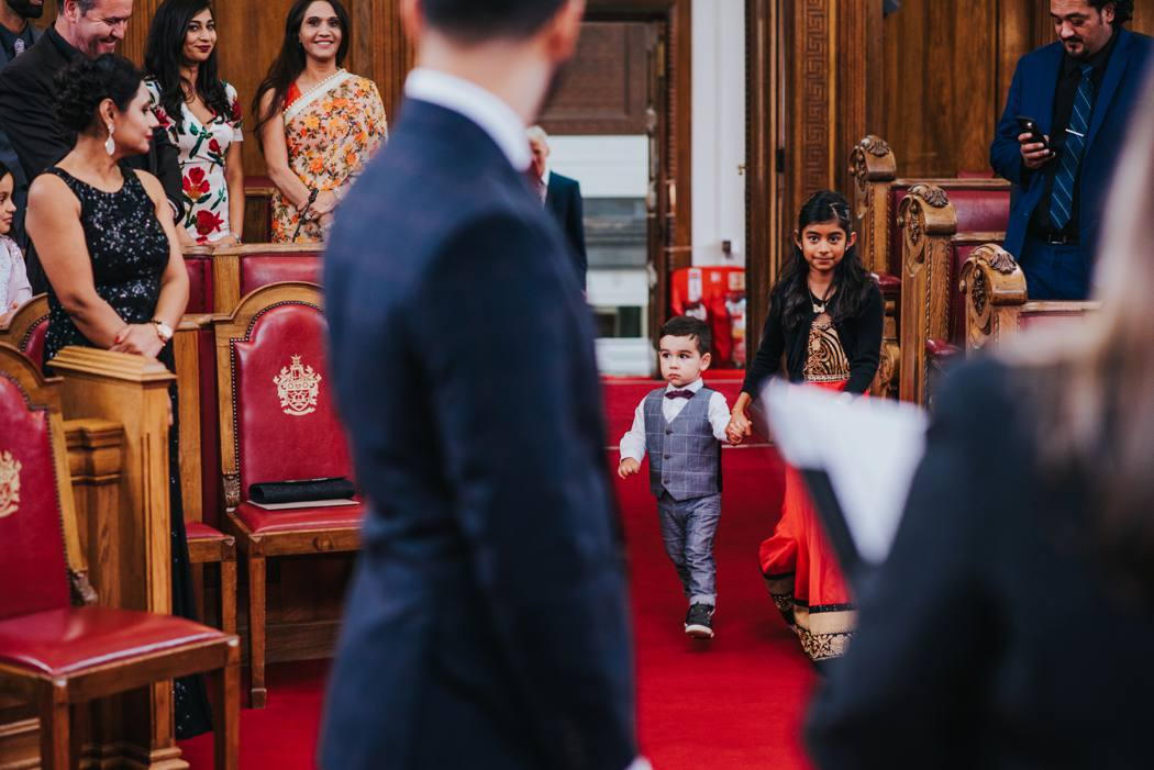 Toddler entering islington town hall