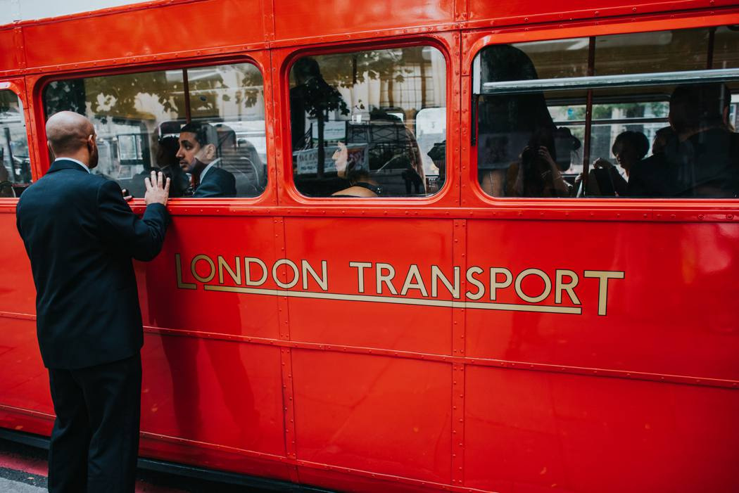 london red bus wedding