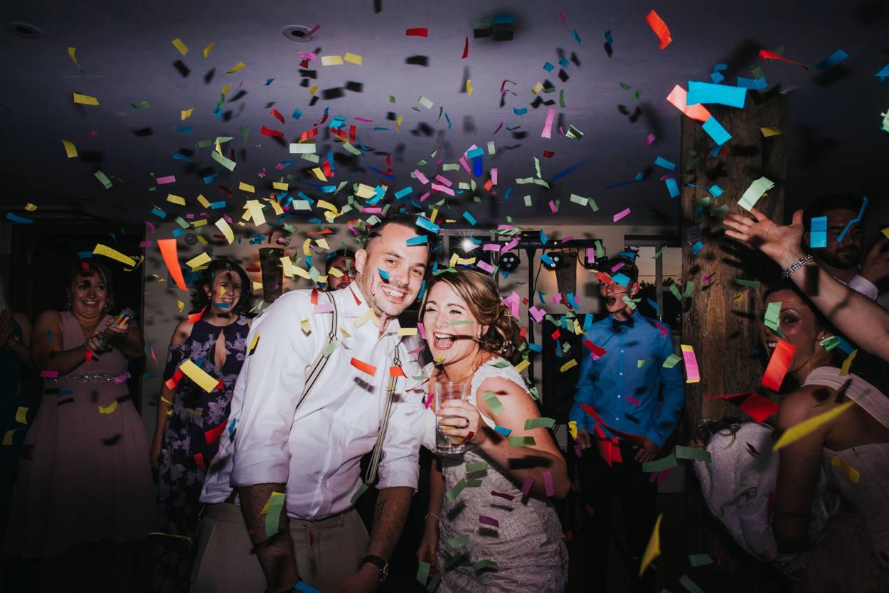 bride and groom confetti cannon, bury court barn