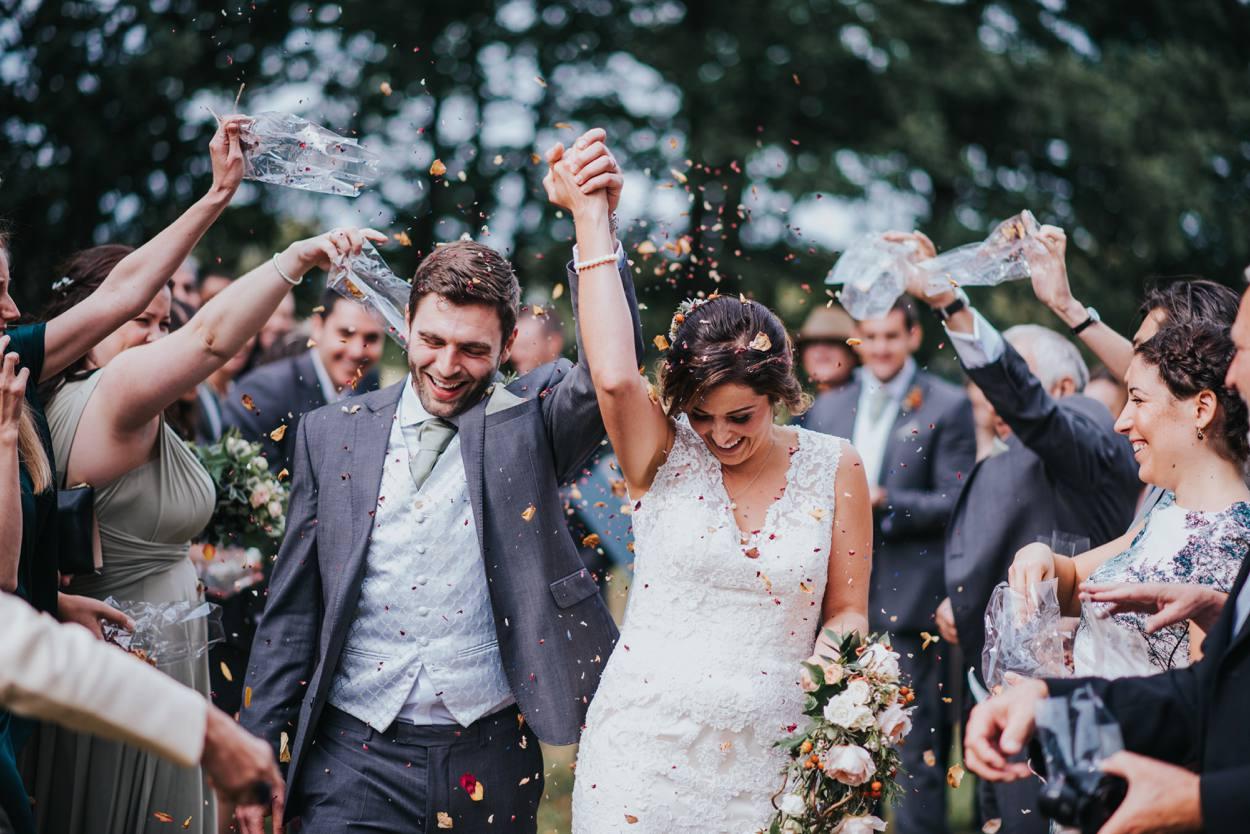 bride and groom just married stanlake park wedding