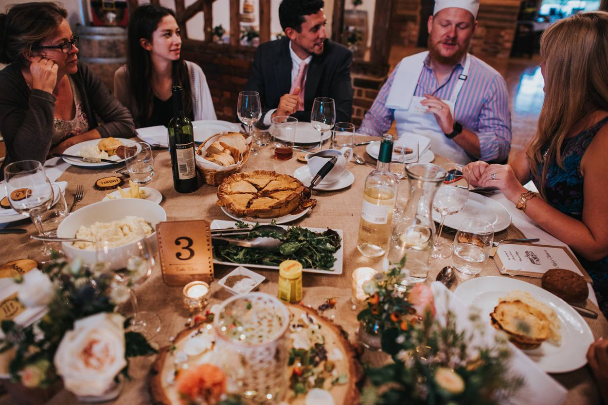 autumnal wedding food, pie and mash