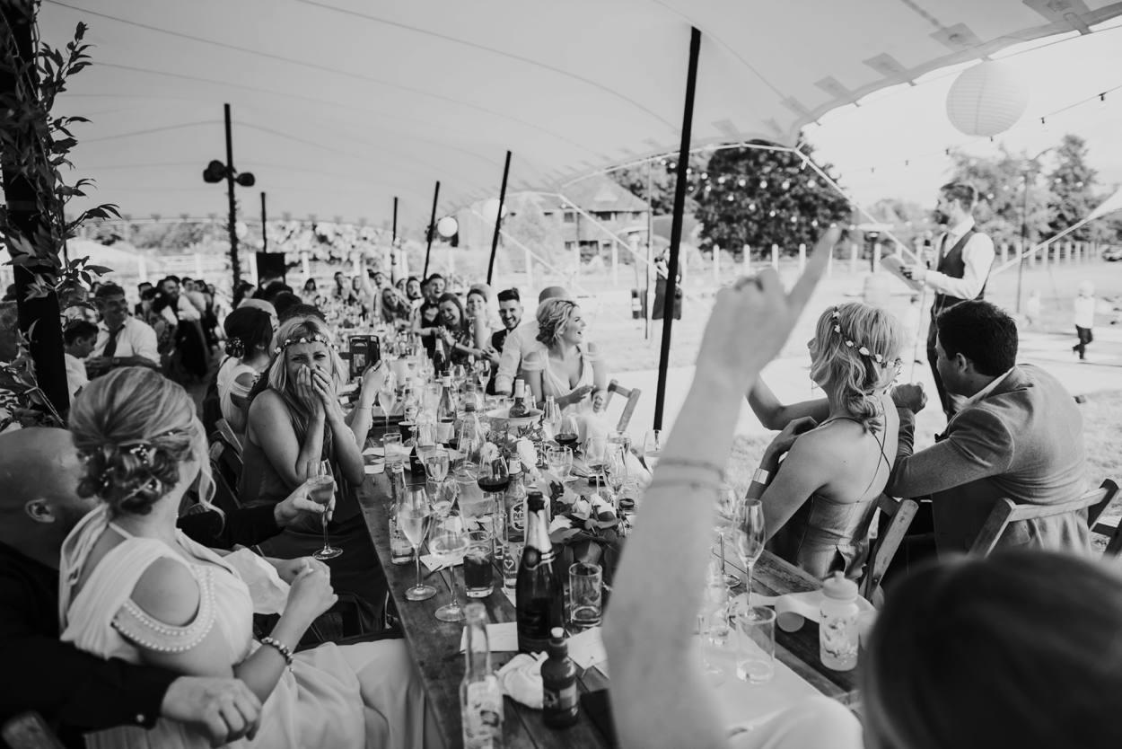 crowds reaction to wedding speech