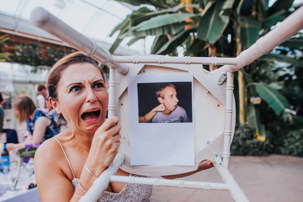 bridesmaid reaction to old school photo in speech