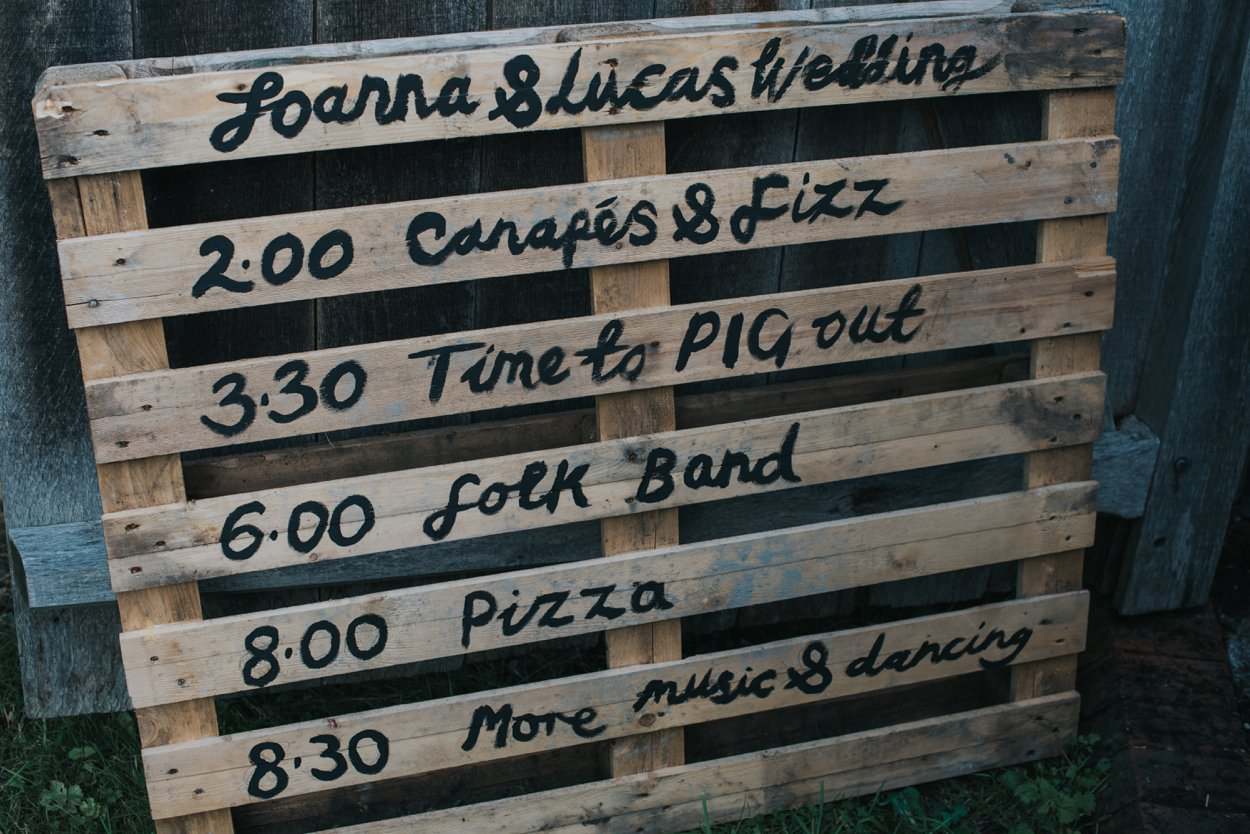 DIY pallet wedding signage
