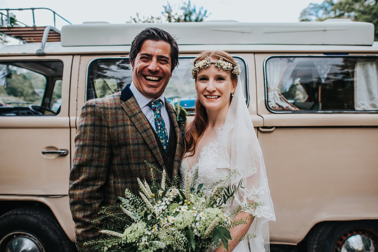 boho bride and groom by VW camper