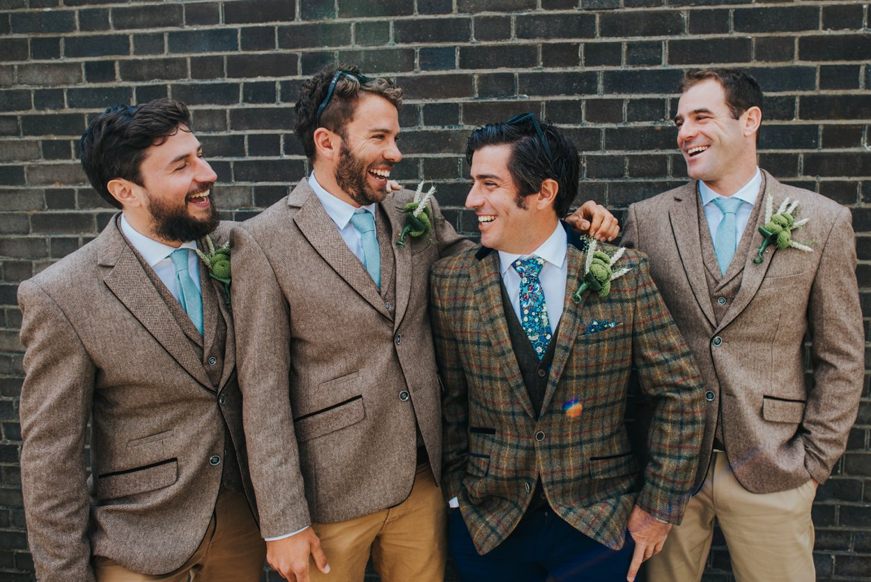 groom and ushers in tweed suits