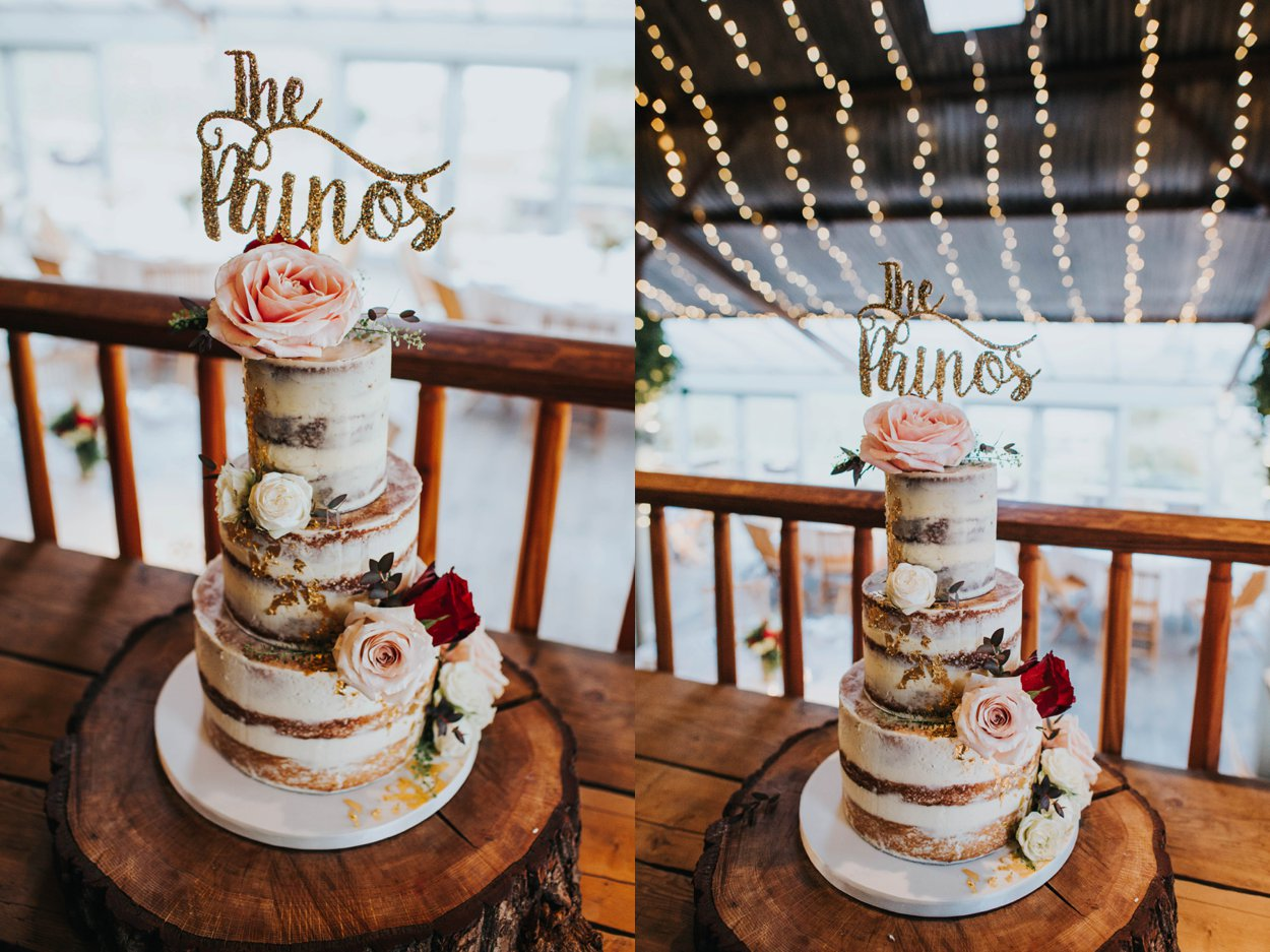 stunning naked cake with oversized floral details
