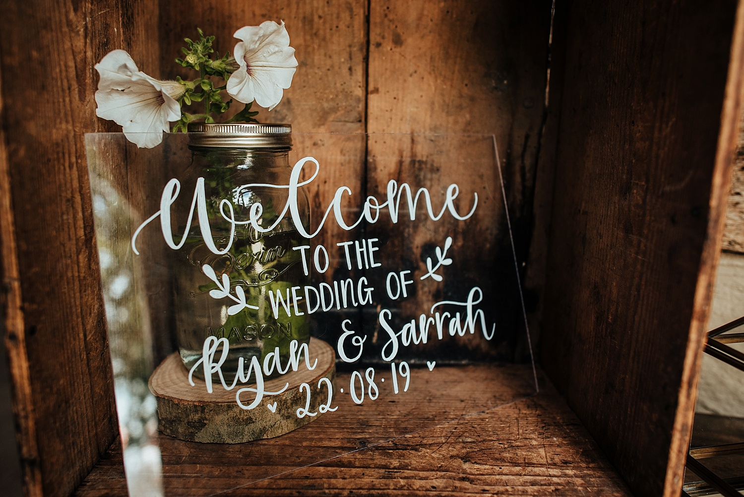 welcome wedding sign at clock barn