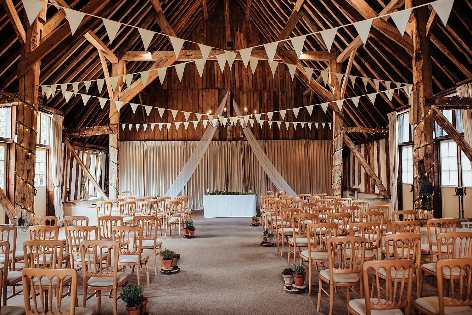 clock barn filled with bunting