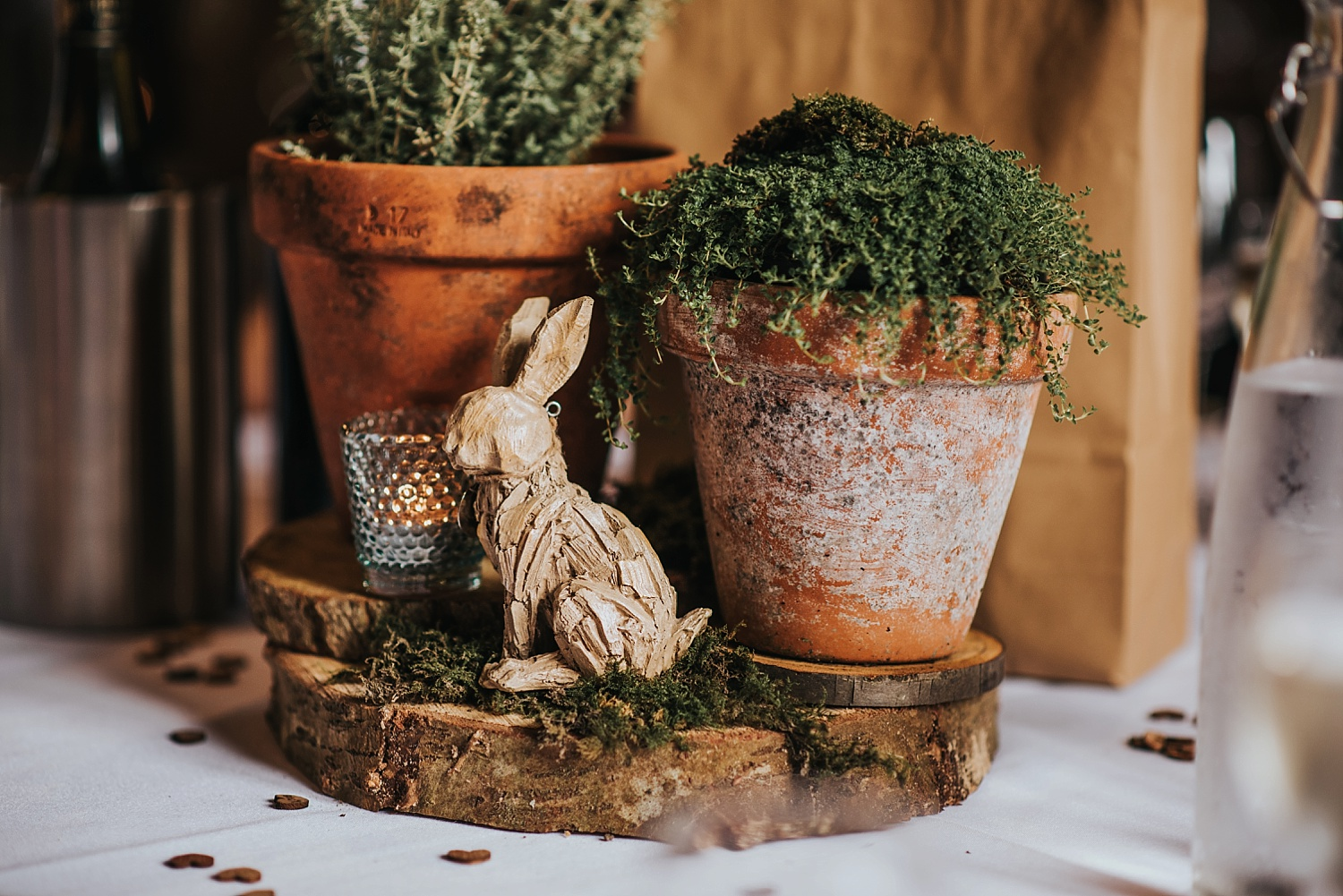 rustic wood centerpieces on wedding table