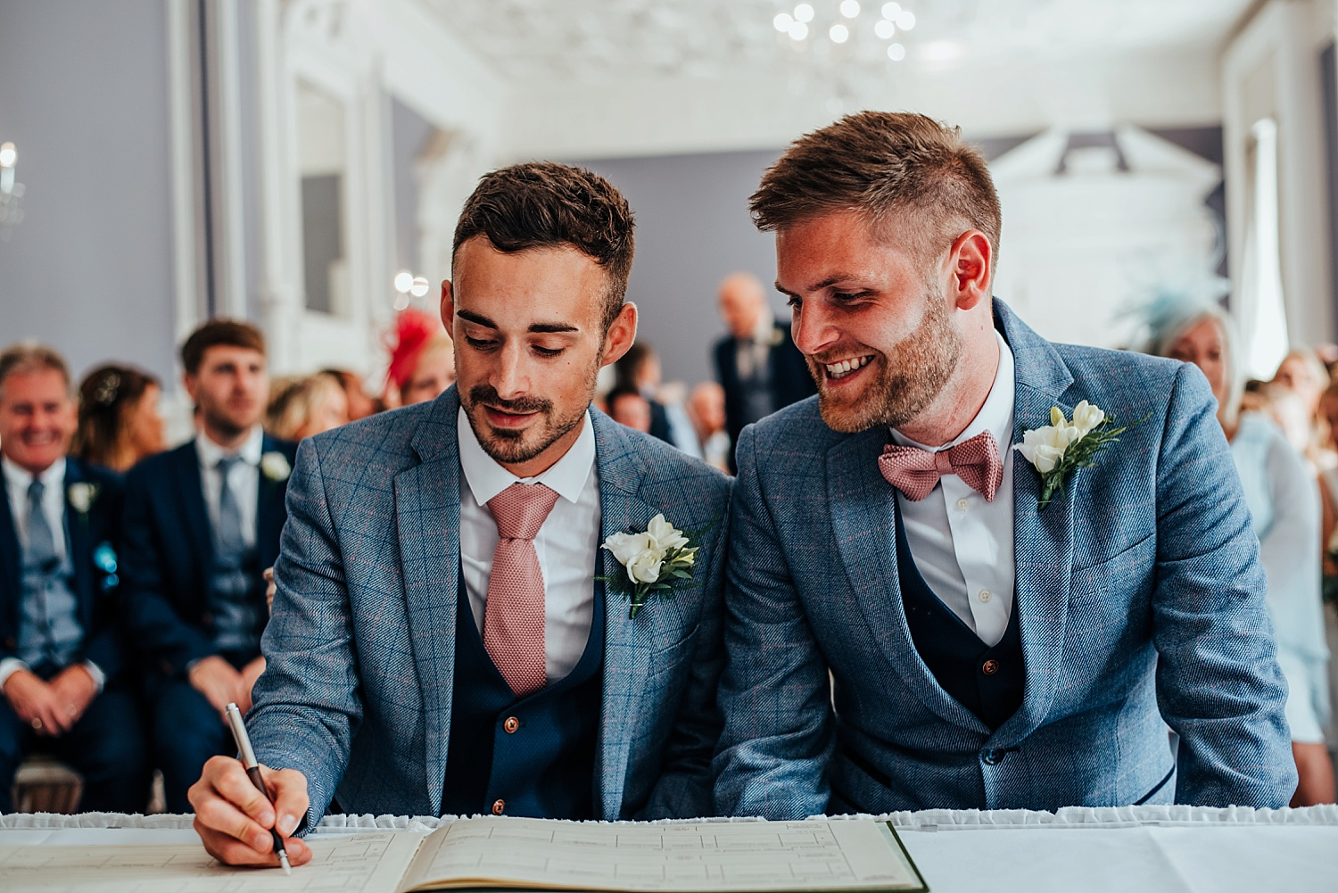same sex wedding, oakley hall, blue marc darcy suit