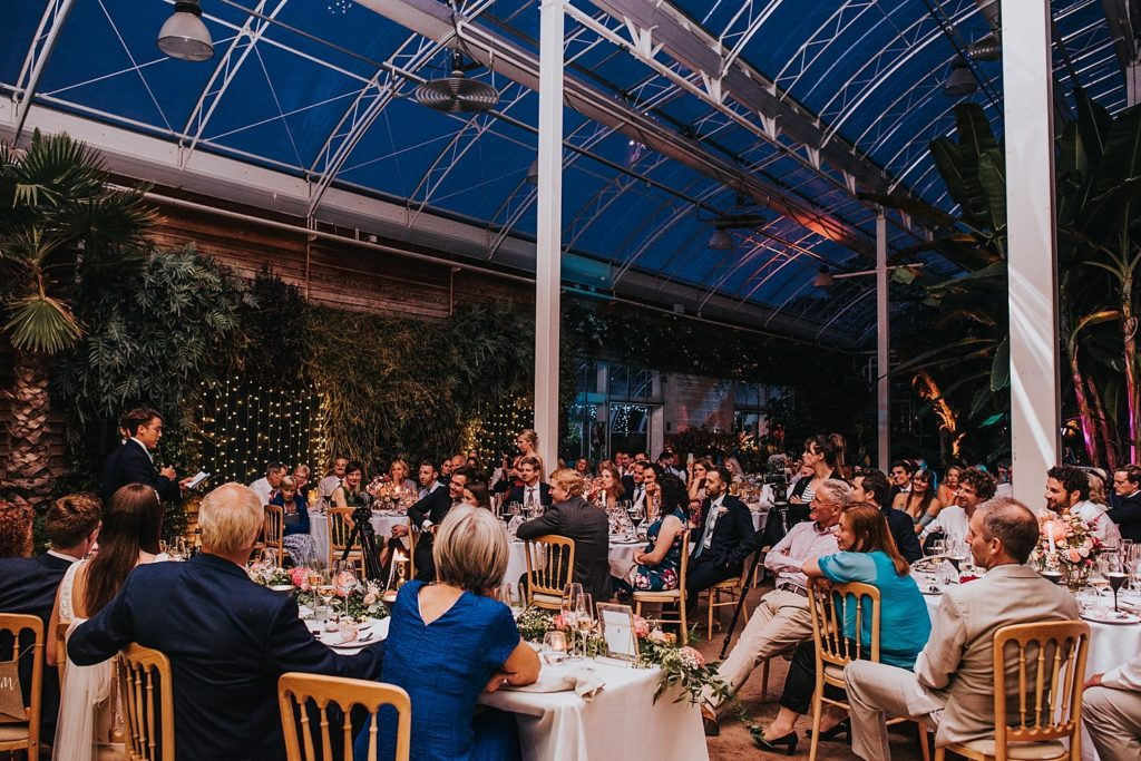 wedding at RHS Wisley glasshouse at night