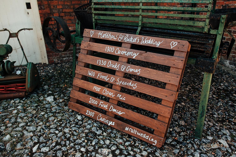 wedding sign at stanlake park