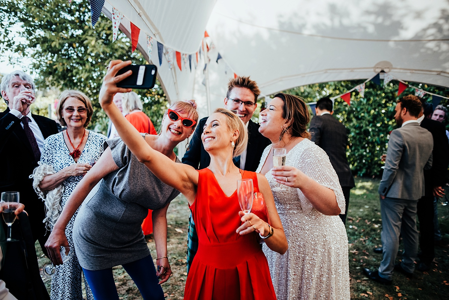 guests taking a selfie with bride Stanlake Park