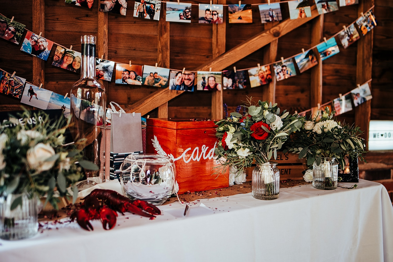 wedding details inside Stanlake Park barn