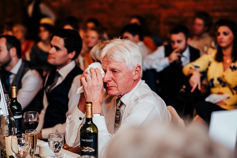 man crying during speeches Stanlake Park