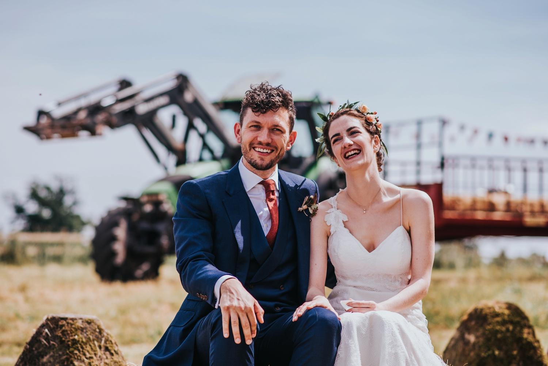 bride and groom, humanist ceremony at stone circle , huntstile farm