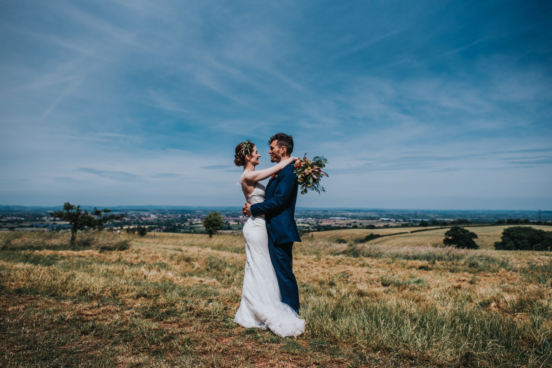 bride and groom humanist ceremony at stone circle , huntstile farm
