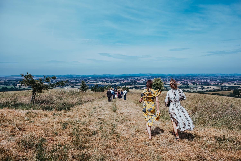 guests walking back to huntstile organic farm