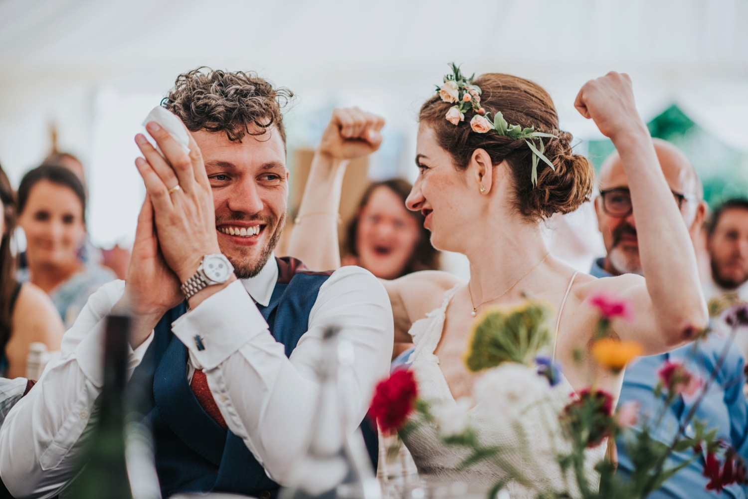 bride and groom in speeches