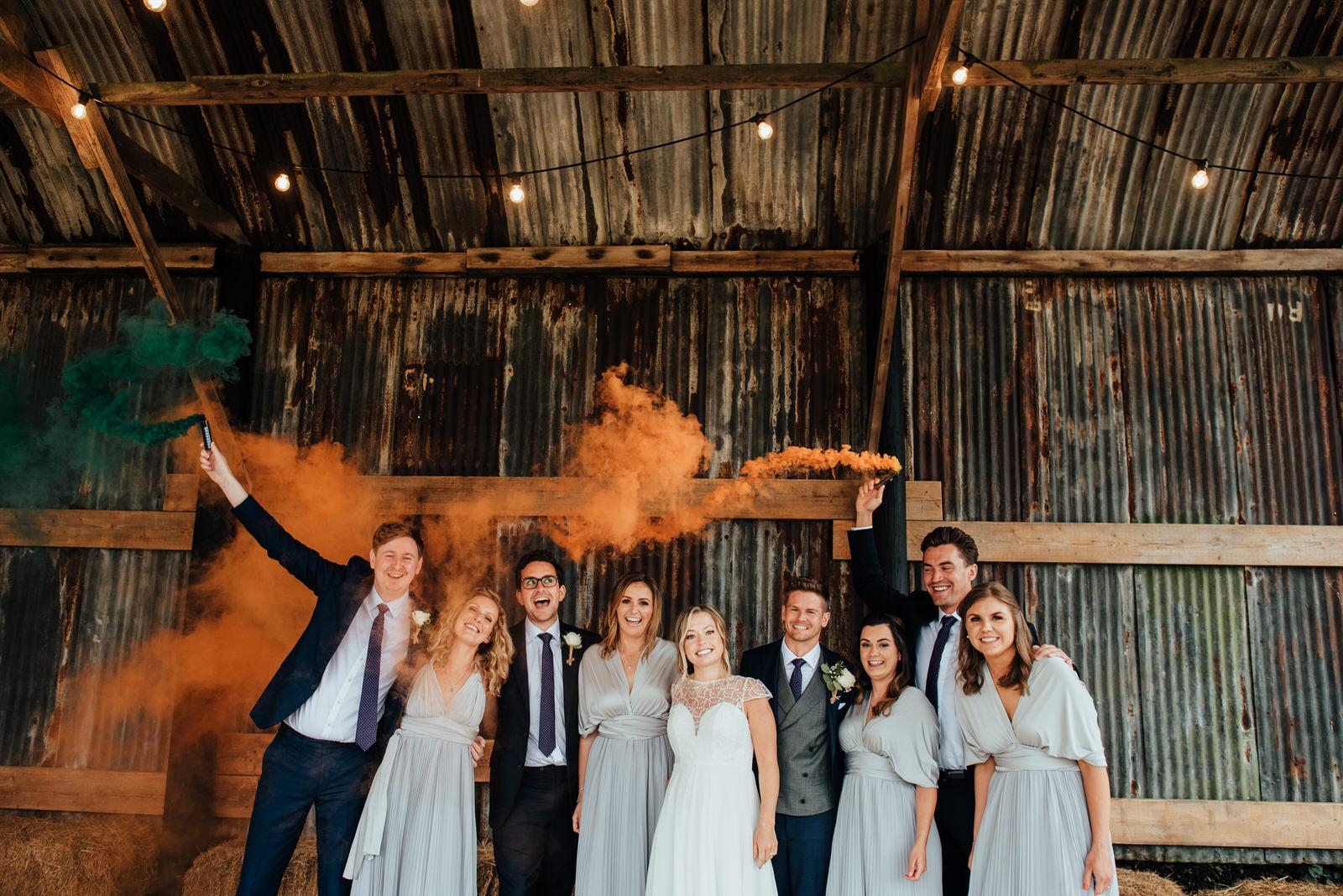 The Dutch Barn Silchester Farm, Smoke bomb wedding