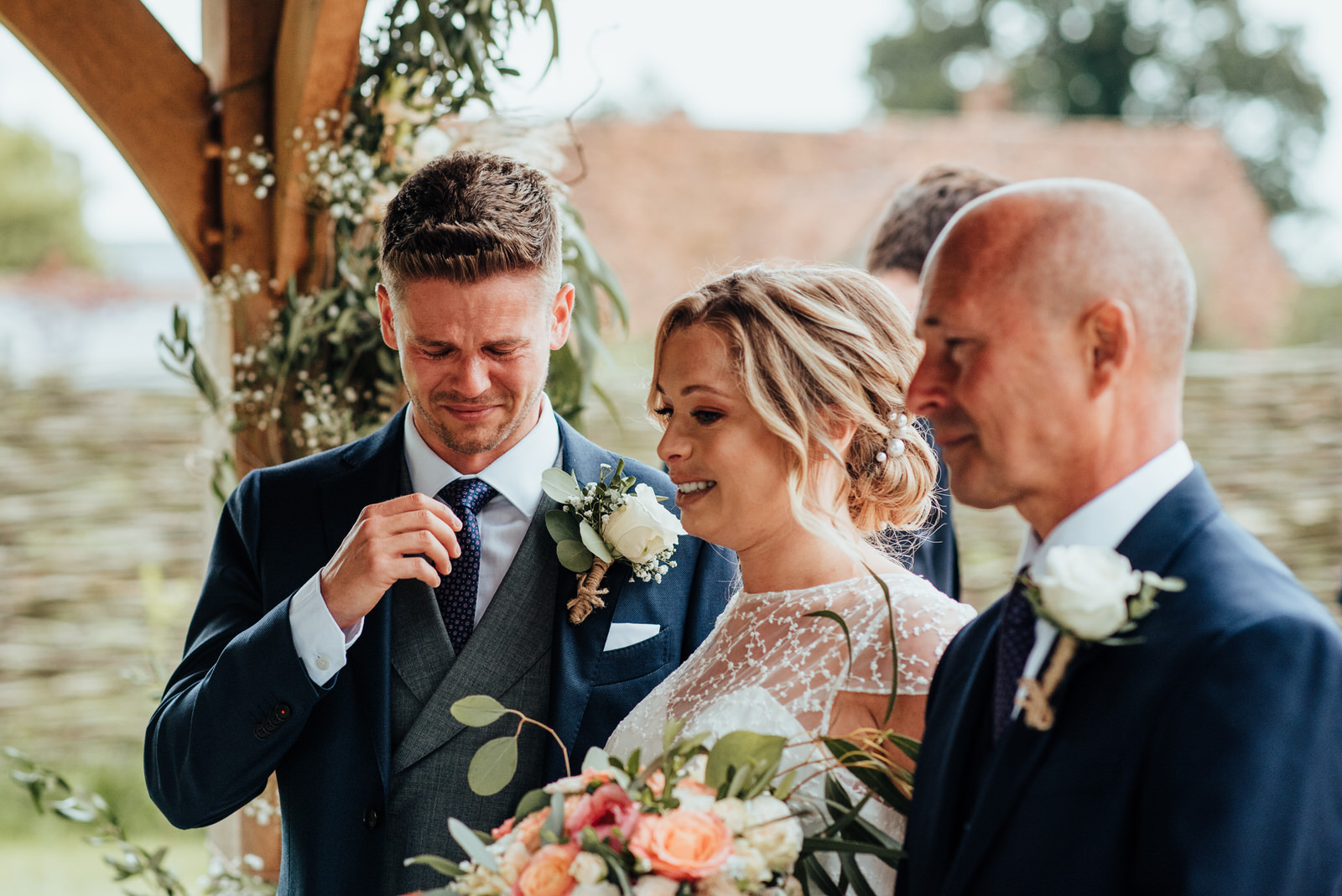 groom crying with bride, silchester farm